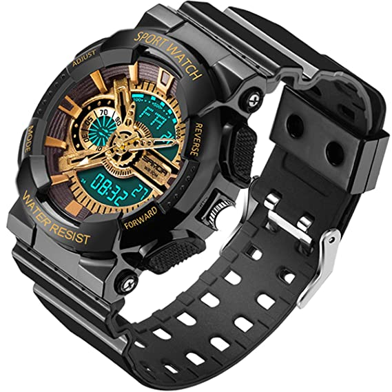Sanda para hombre relojes oro cronómetro Digital deportes al aire libre analógico alarma Militar relojes de pulsera: Amazon.es: Relojes