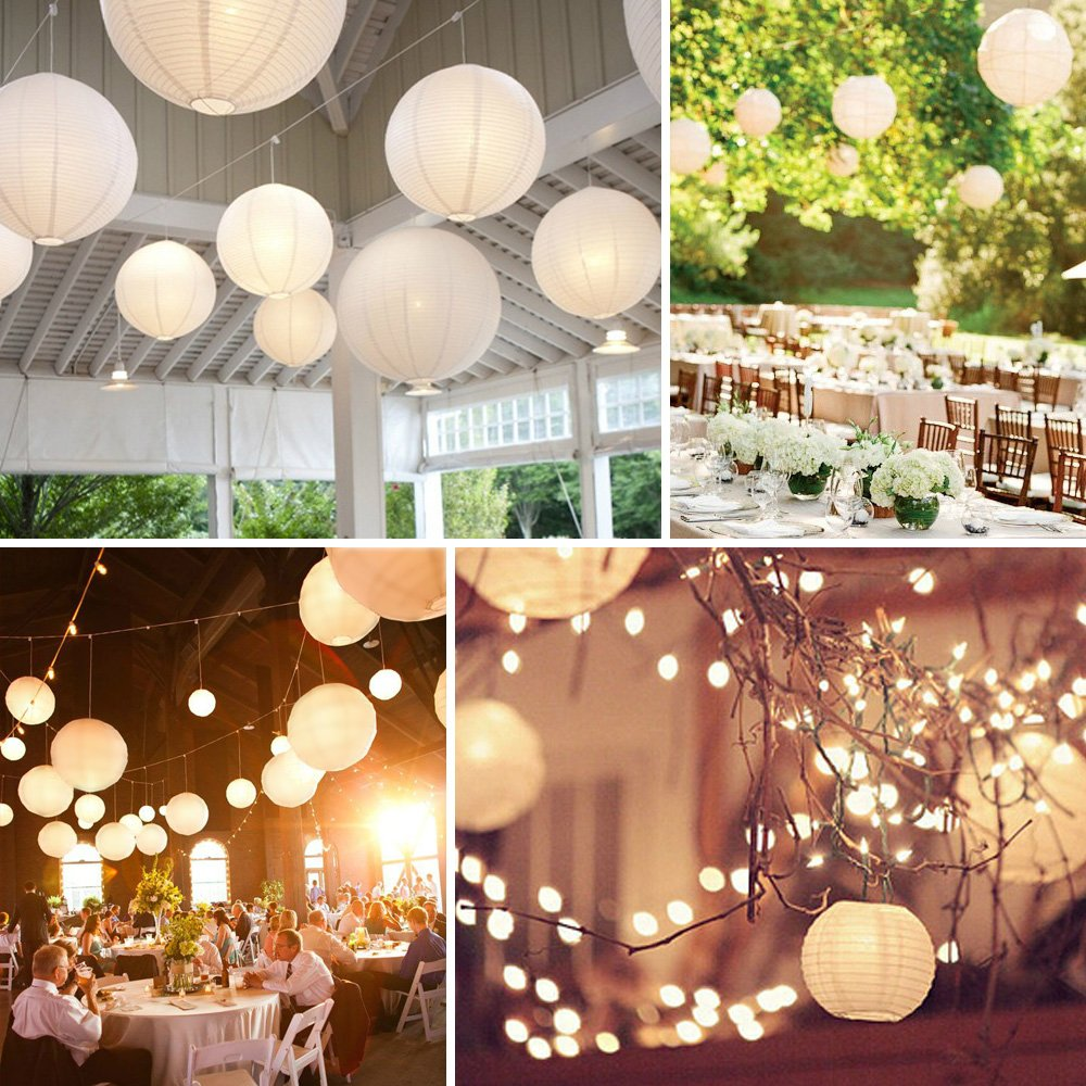 White paper lanterns with lights - Vastar 10 Packs 12 Inch White Round Paper Lanterns 20 Pack White Led Party Lights Light And Extra 60 Led Light Batteries Amazon Com