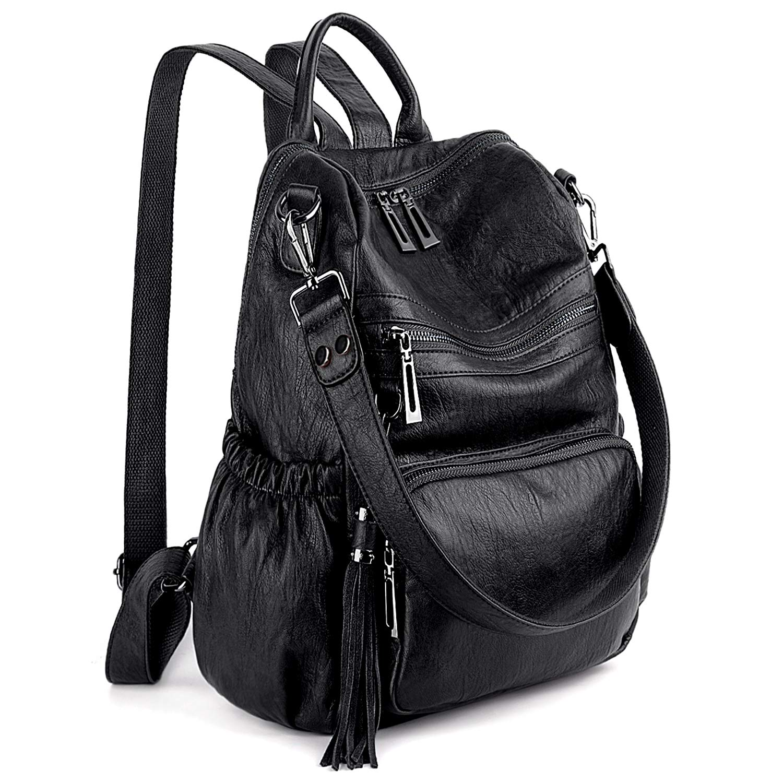 cc2abc39bf16 Amazon.com: UTO Women Backpack Purse PU Washed Leather Convertible ...