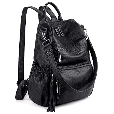 ae762332d7d5 UTO Women Backpack Purse PU Washed Leather Convertible Ladies Rucksack  Tassel Zipper Pocket Shoulder Bag