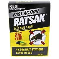 Ratsak Fast Action Rat and Mouse Bait 1 Shot 4 x 50g Bait Stations Yates 200g