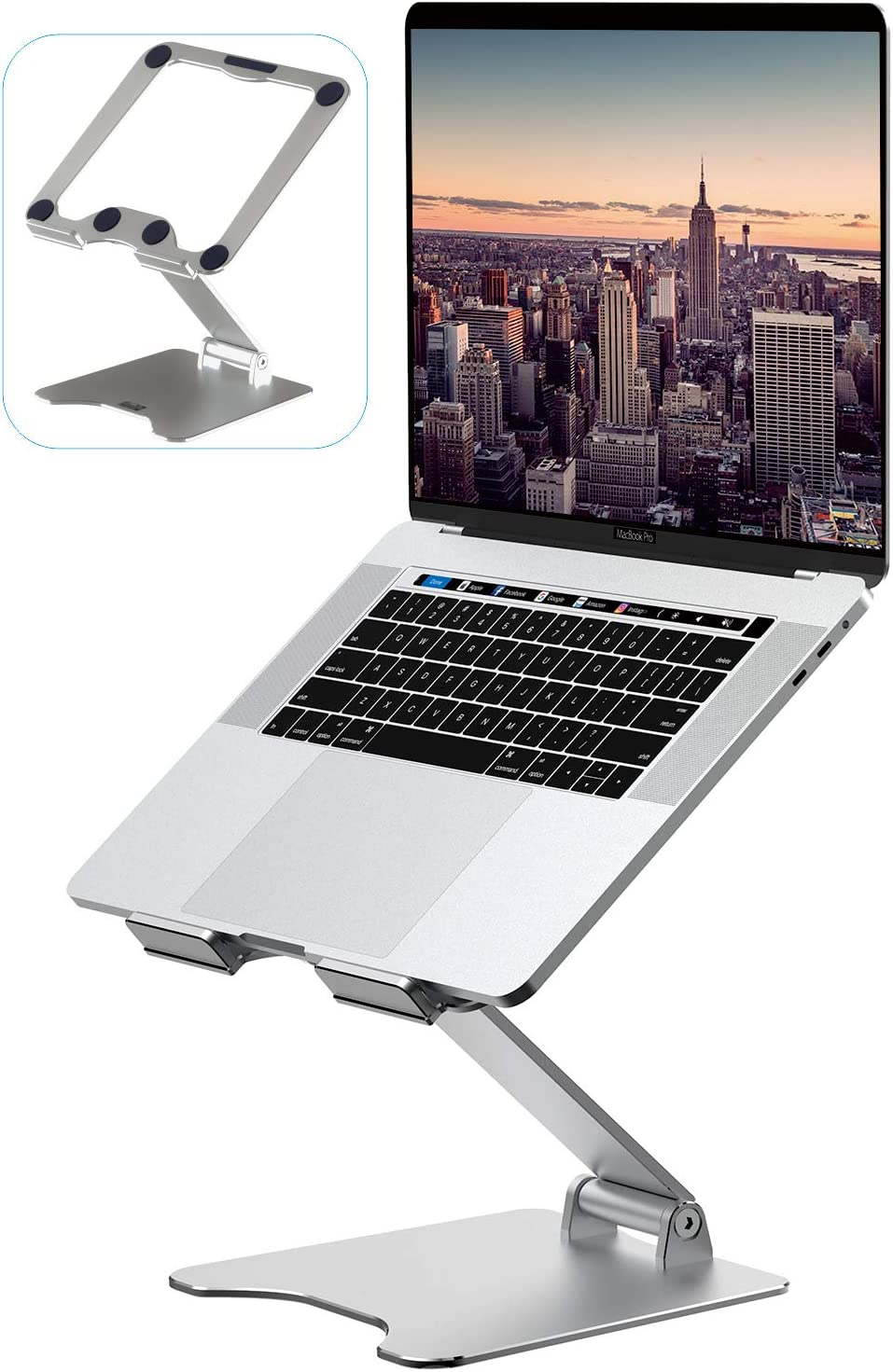 "Laptop Stand,VMEI Laptop Stand Adjustable Height for Desk,Metal Laptop Riser Compatible with MacBook, All Laptops Tablets 10-17.3"",Elevate Laptop Screen Height from 2""(5CM) to14(35CM)-Silver"