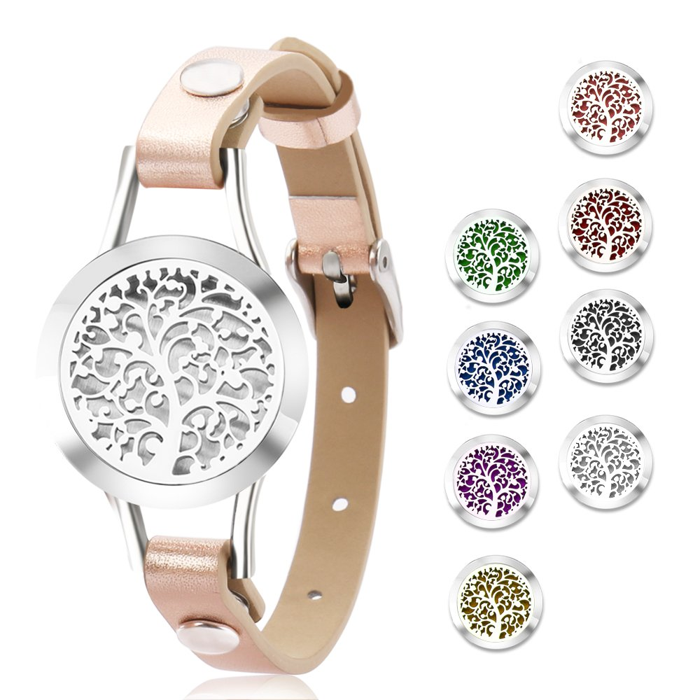 Essential Oil Diffuser Bracelet,Stainless Steel Aromatherapy Locket Bracelets Leather Band with 8 Color Pads,Girls Jewelry Gift Set