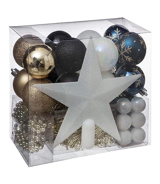 Lote decoración de Navidad - Kit 44 piezas para la decoración del árbol: Guirnaldas, Bolas y Estrella - Color: Blanco y Rojo: Amazon.es: Hogar