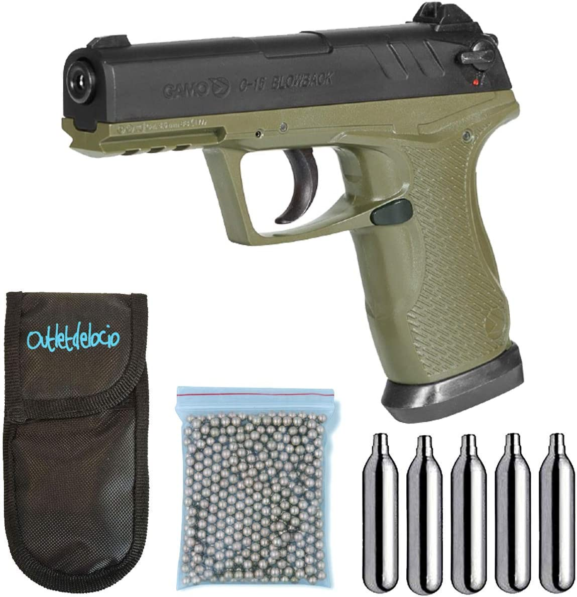 Outletdelocio. Pistola Perdigón Gamo C-15 Olive Drab 4,5mm Blowback. + Funda Portabombonas + Balines + Bombonas co2. 23054/29318/38123