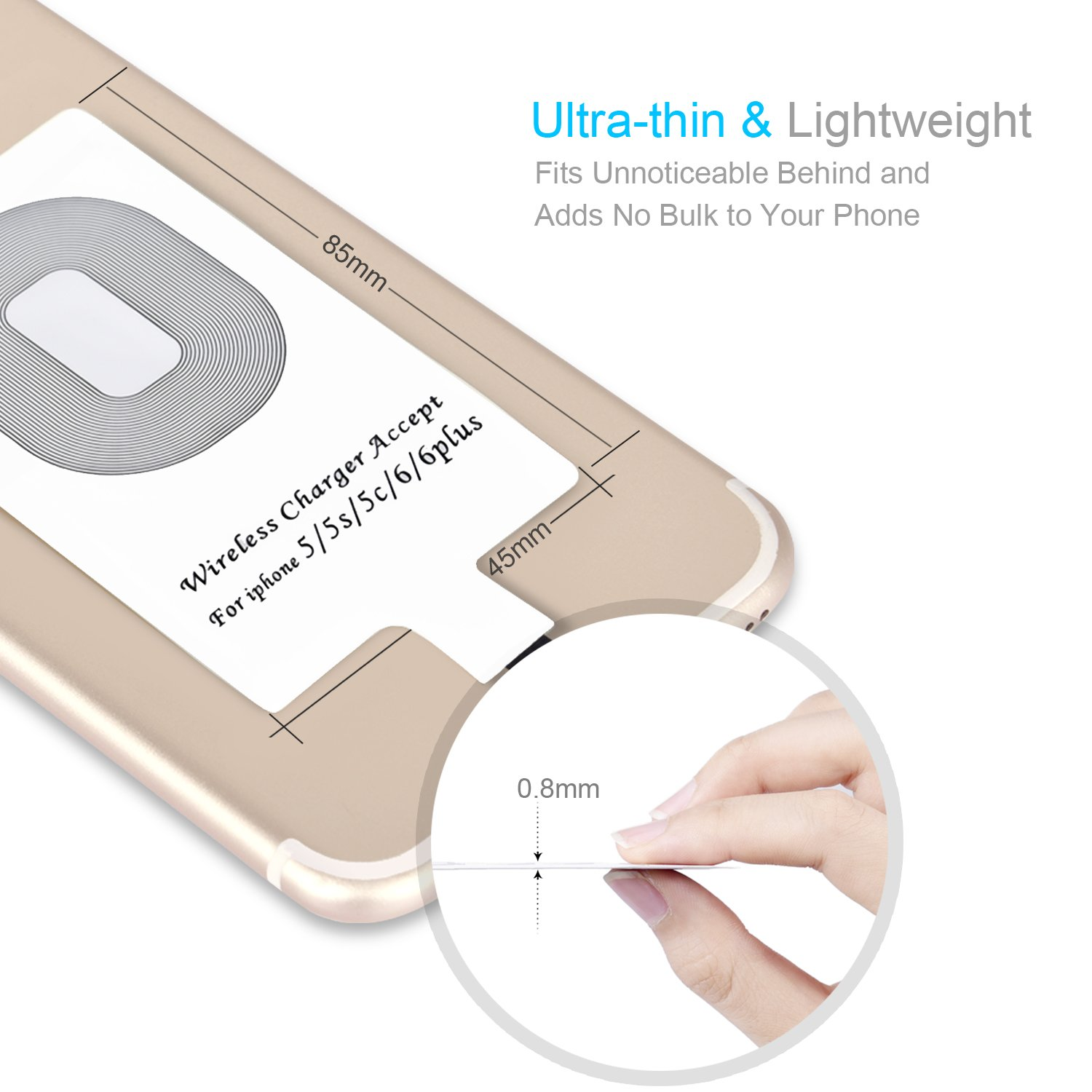 CHOETECH Ultra Thin Wireless Charging Qi Receiver for iPhone 7/7 Plus, iPhone 6/6 Plus, iPhone 5/5s/5c