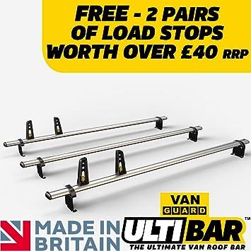 2014 on Aluminium Silver Cross Bars Roof Rails Pair for Vauxhall Vivaro