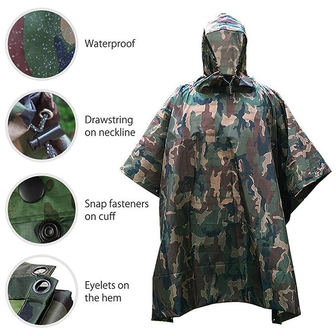 ZUOAO Multifuncional Militar Camuflaje Poncho de Lluvia Impermeable al aire libre, Portátil, Ligero y Plegable, Ropa Impermeable para Camping, Senderismo, ...