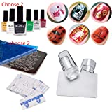 Nail Stamping Kit for Christmas Choose Any 2 Enamels for Stamping, Stamper with scraper and Any 2 Christmas Stamping Stencils, 50 Pcs Packaged Remover Wraps