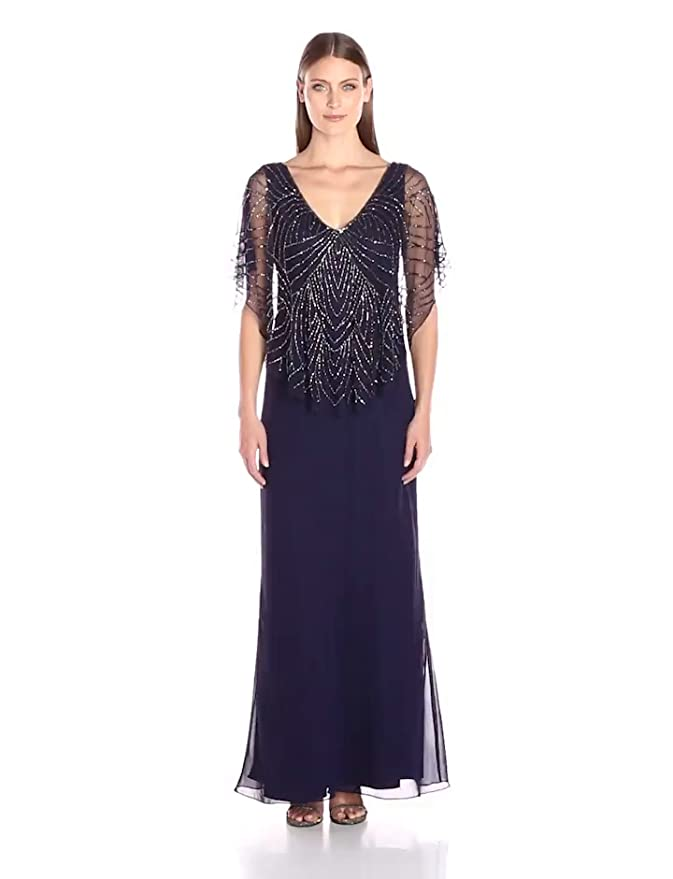 Best 1920s Prom Dresses – Great Gatsby Style Gowns J Kara Womens Capelet Dress $214.99 AT vintagedancer.com