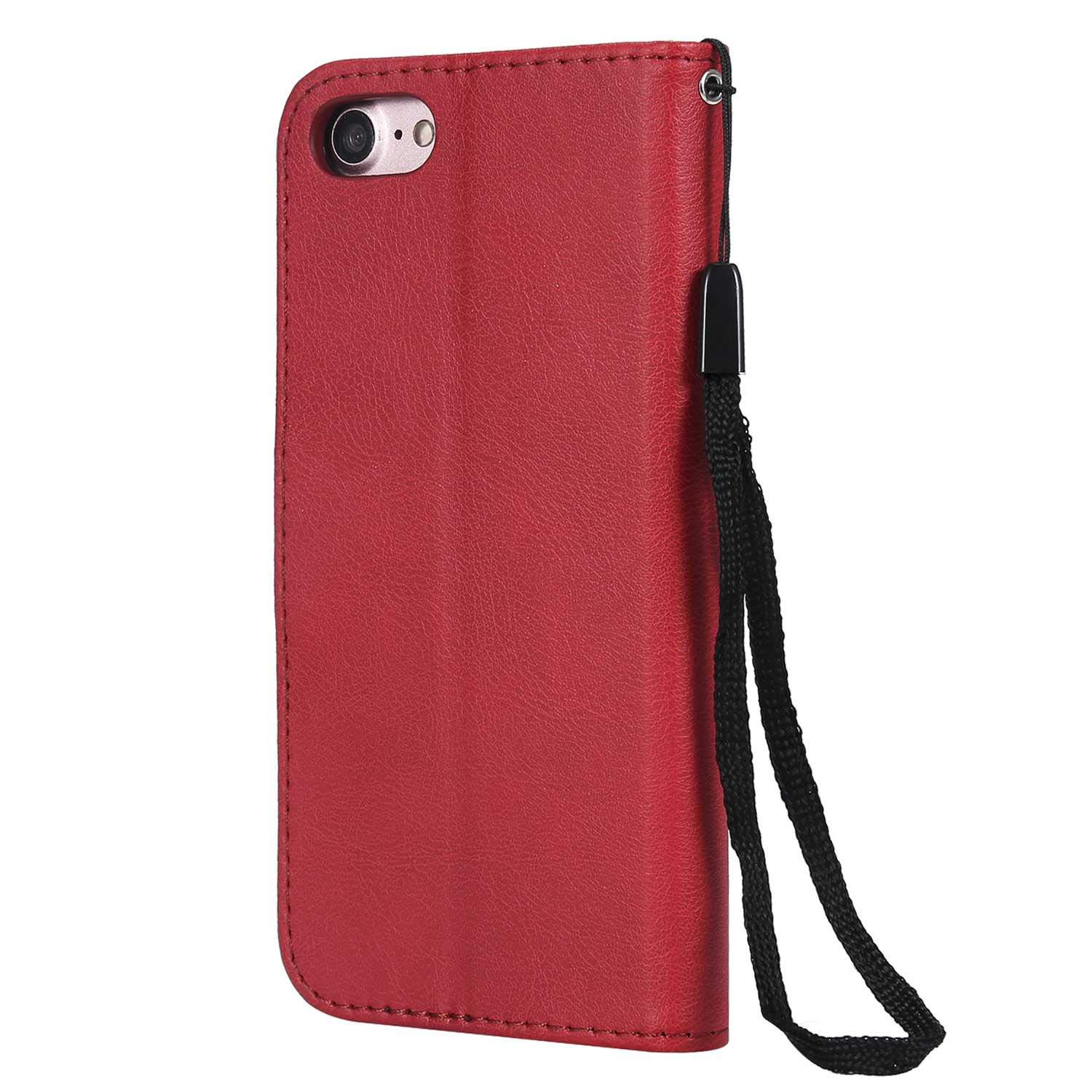 iPhone 7/8 Case, The Grafu Shockproof Leather Wallet Flip Case with [Card Slots] [Wrist Strap] Stand Function Cover for Apple iPhone 7 / iPhone 8, Red by The Grafu (Image #2)