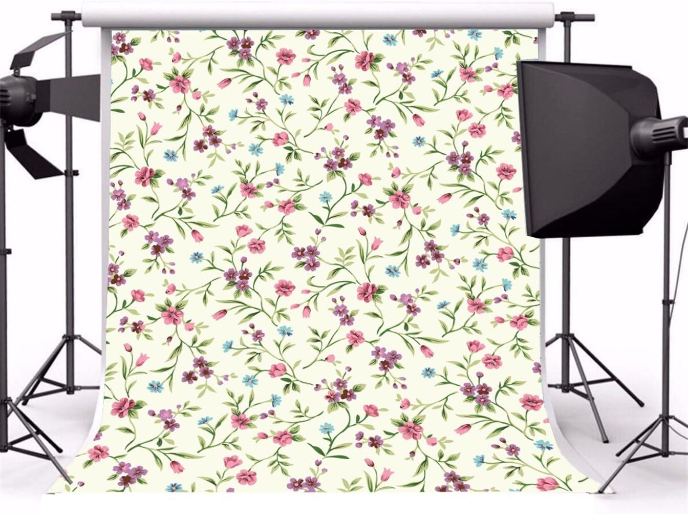 AOFOTO 10x10ft Artistic Backdrop Photography Background Plain Colour Themed Drops Sweet Flowers Cozy Florets Wallpaper Girl Portrait Seamless Photo Shoot Studio Props Video
