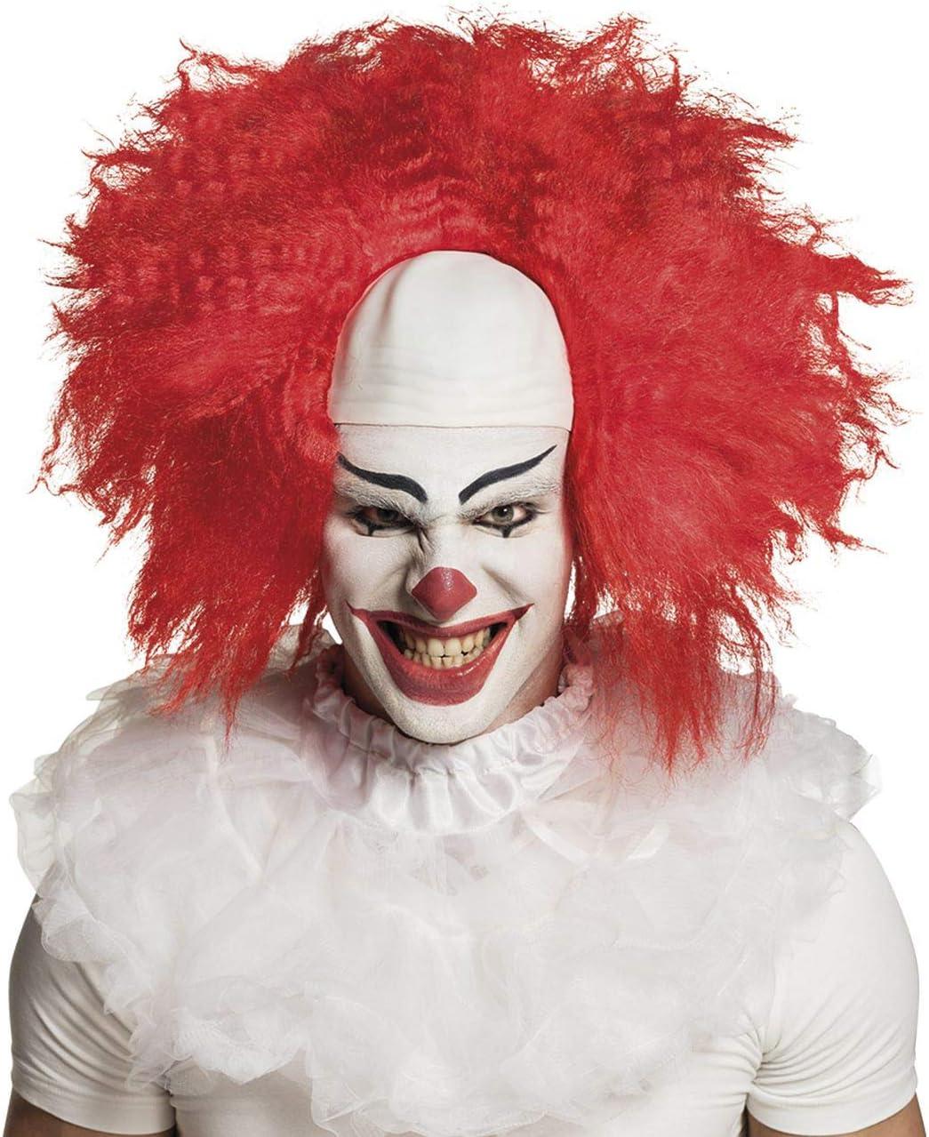 Parrucca Horror Clown con capelli rossi e calotta