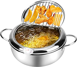Tempura Deep Fryer, Japanese Style Stainless Steel Dip Fryer Pot Lager withThermometer Lid Oil Drip Drainer Rack, Mini Stove Top Deep Fryer Pan for Chicken French Fries Fish Shrimp Squid