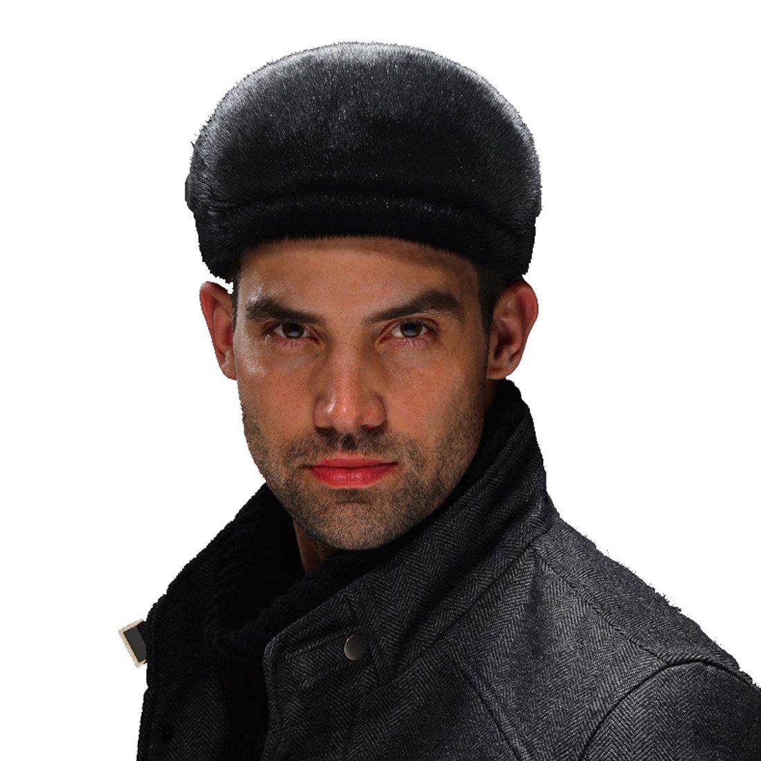 URSFUR Men's Sealskin Full Fur Cabbie Cap (Black)