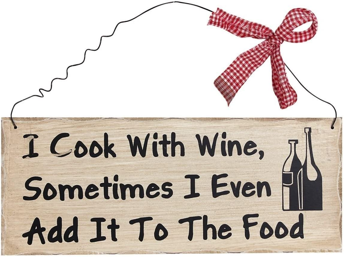 Home Accent I Cook with Wine Wood Wall Art Funny Kitchen Sign Hanging Dining Room Decoration