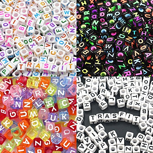 Trasfit 800 Pieces 4 Color Acrylic Alphabet Letter A-Z Cube