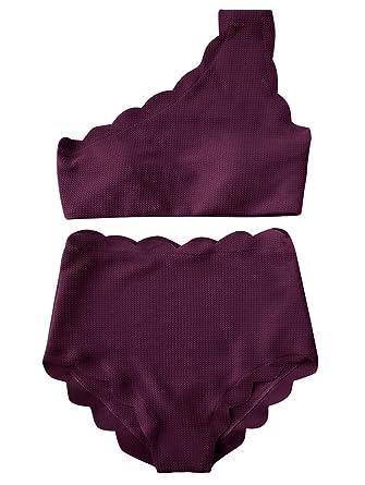03be29c27b Amazon.com  ZAFUL Women High Waist Scalloped One Shoulder Bikini Set 2 PCS  Swimsuit Padded  Clothing