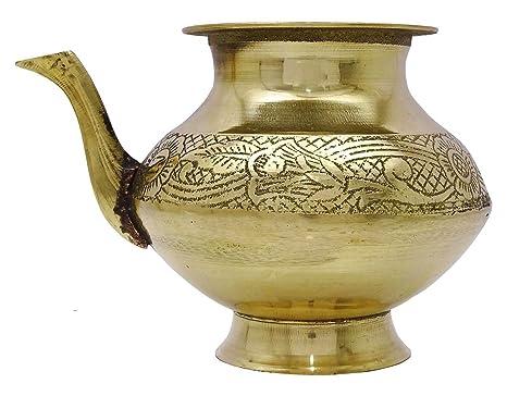 Amazon.com | Gold Tone Brass Karwa Chauth Lota Prayer Temple Badna ...