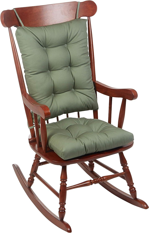 The Gripper Twill Jumbo XL Non-Slip Rocking Chair Cushion Set, Celadon Green