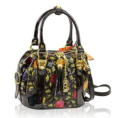 Marino Orlandi Italian Designer Handpainted Red Roses Leather Boxy Purse Bag 480d7d147a28d