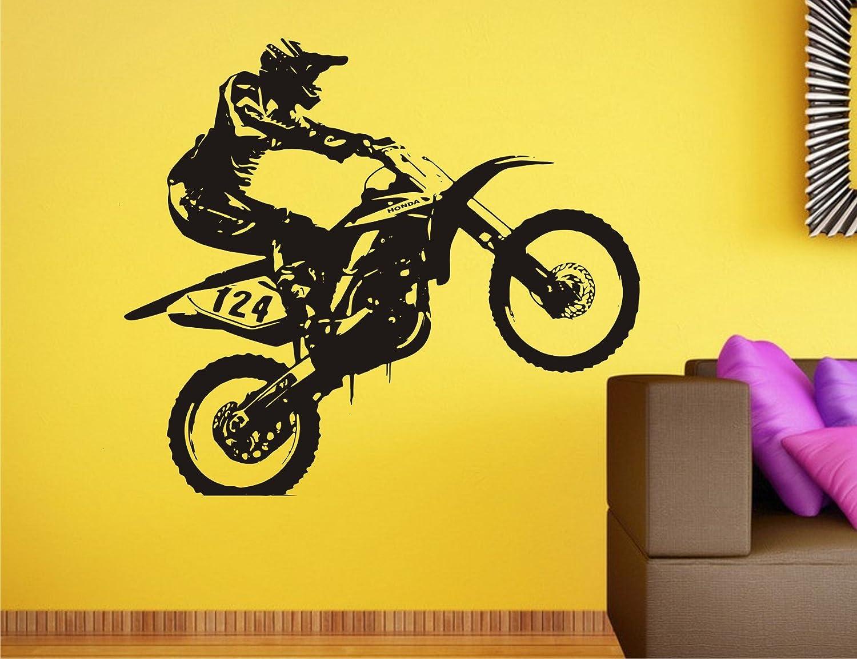 Buy Wall Guru Dirt Bike Black Wall Decal Size(59 * 69) cm Vinyl ...