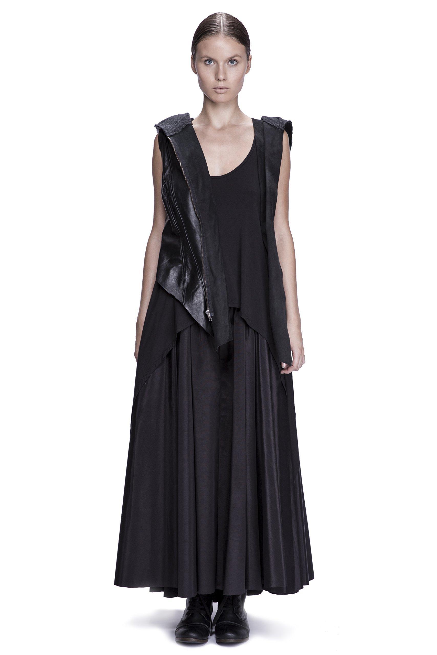 Asymmetrical Hooded Draped Leather Vest