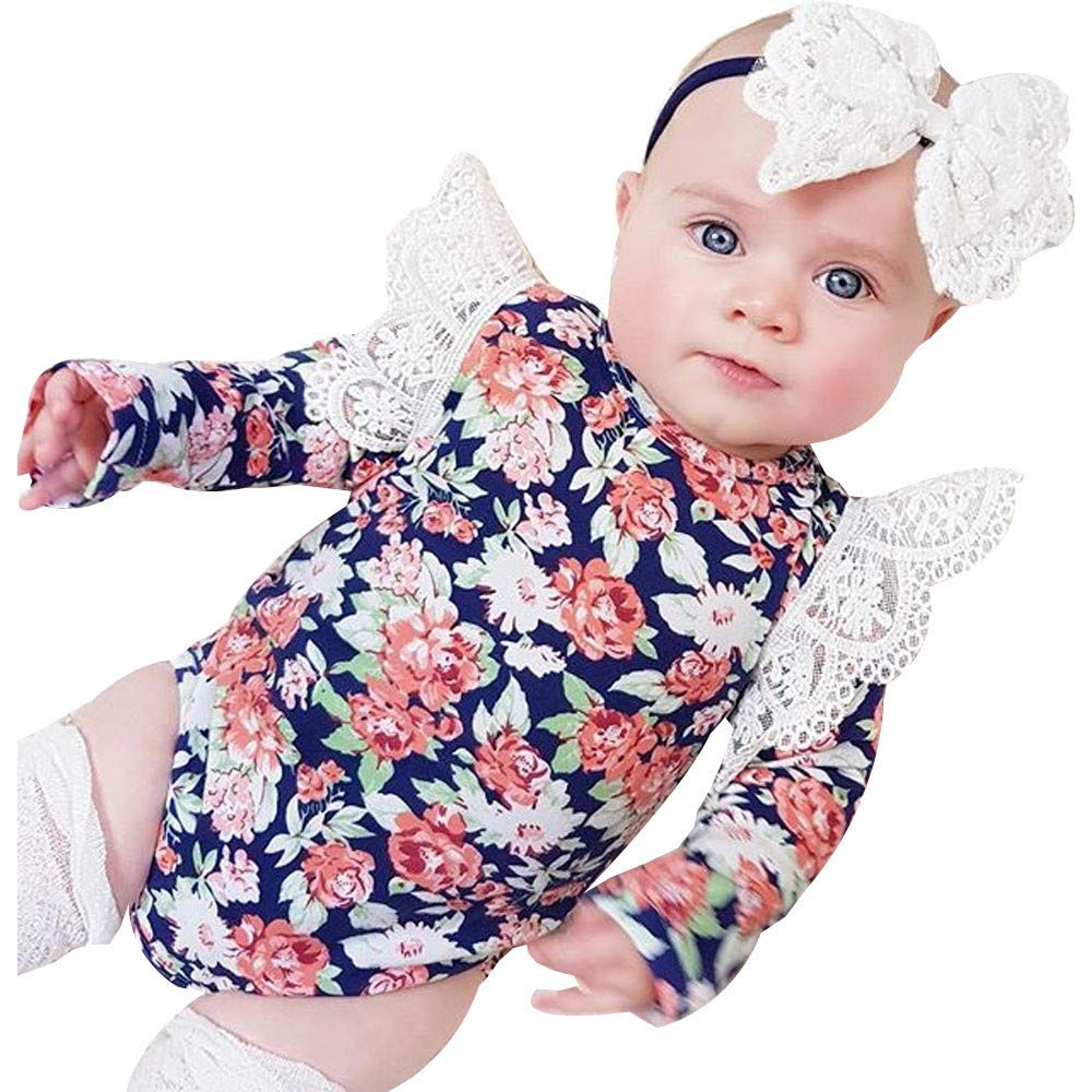 81dffcbcd512f Amazon.com  0-24 Months Newborn Infant Baby Girls Lace Floral Romper  Headband Ruffle Jumpsuit Party Outfits Clothes Set  Clothing