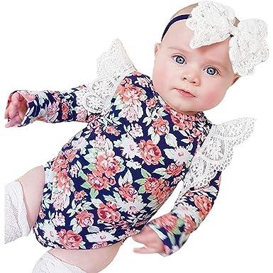 LANSKIRT Ropa para Recién Nacido Infantil bebé niñas Estampado Floral de Manga Larga Overol de Encaje Conjunto de Ropa de Trajes Onesies + Banda de Pelo ...
