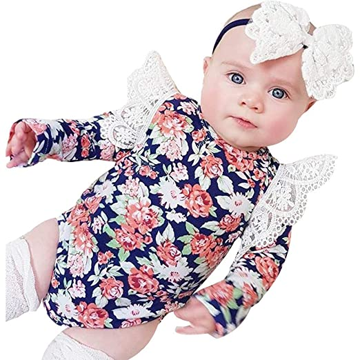 3d76b8fc6776 Amazon.com  0-24 Months Newborn Infant Baby Girls Lace Floral Romper ...