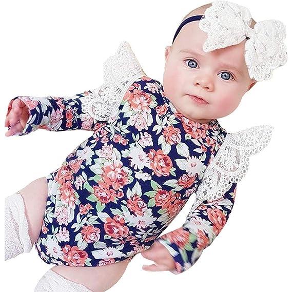 LANSKIRT Ropa para Recién Nacido Infantil bebé niñas Estampado Floral de Manga Larga Overol de Encaje