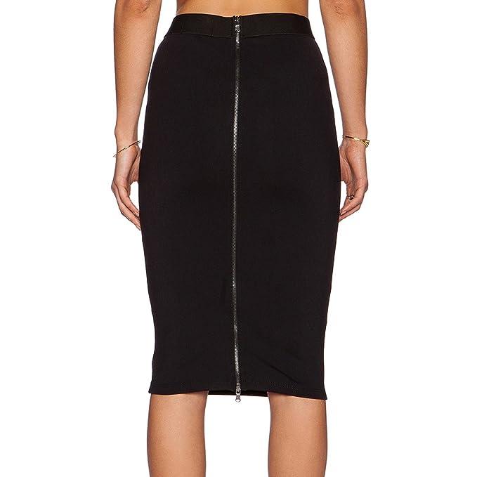 Habitaen Women Office Skirt Knee Length High Waist Straight Back Zipper  Pencil c7ac9e074a4
