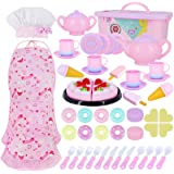 Toy Kitchen Pretend Play Set Play Food Toy Set for Kids 54 PCS with Tea Toy for Party Accessories,Chef Hat and Matching…