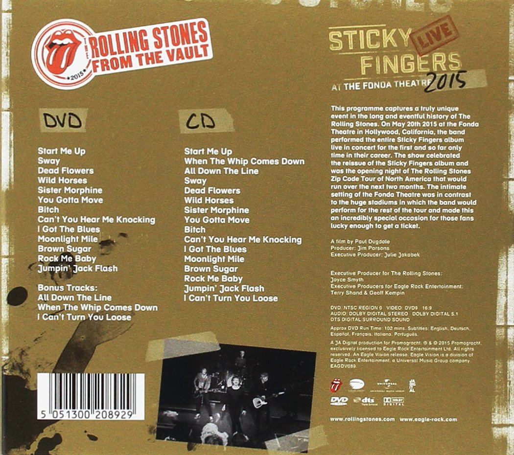 From The Vault: Sticky Fingers Live 2015 (DVD+CD): Amazon.de: The ...