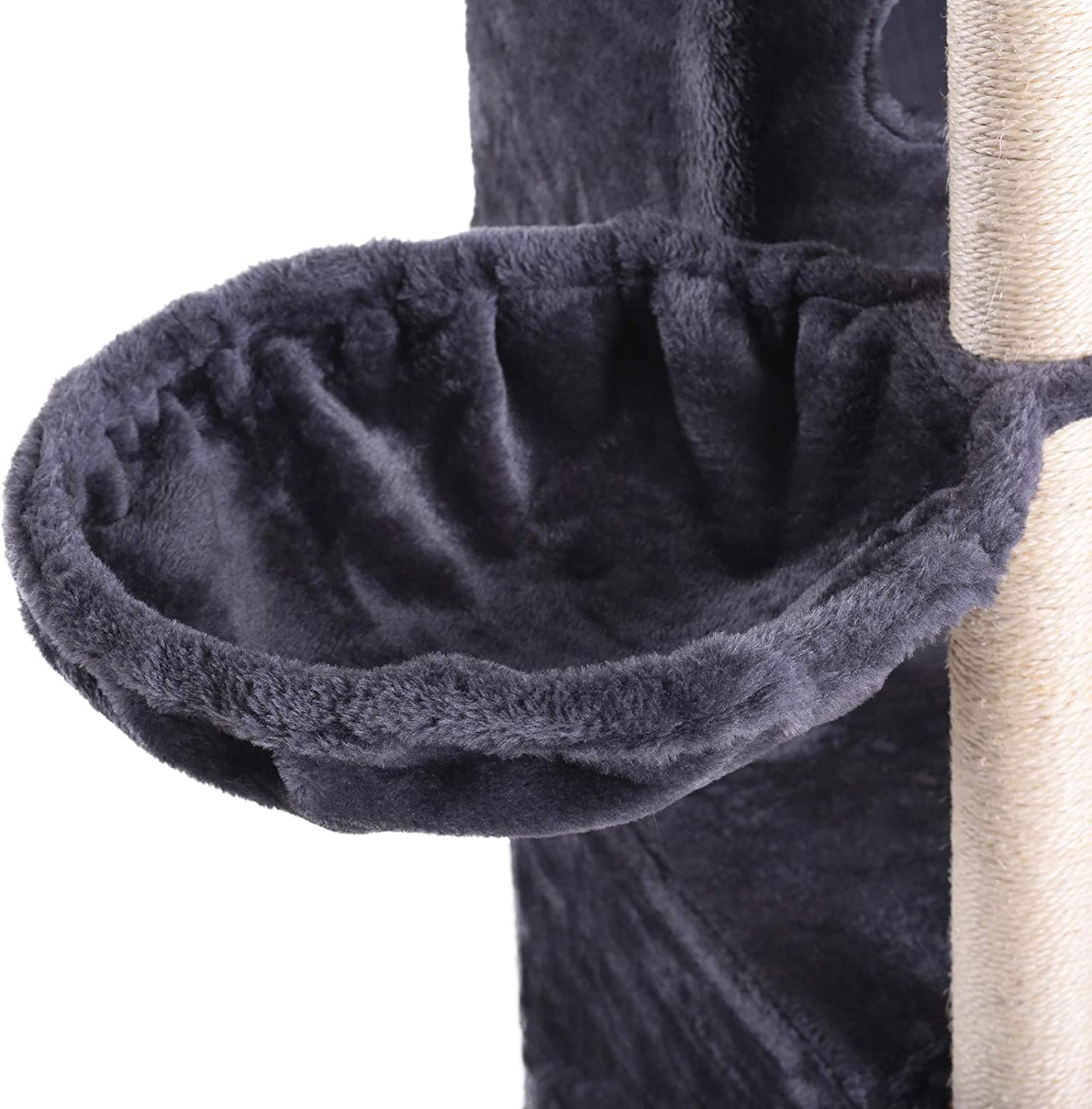 Hey-brother Multi-Level Cat Tree Condo Furniture with Sisal-Covered Scratching Posts 2 Plush Condos Plush Perches Cats and Pets for Kittens