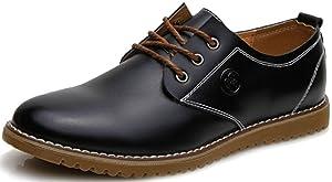 DADAWEN Men's Dress Casual Oxfords Leather Shoes Black US Size 10.5