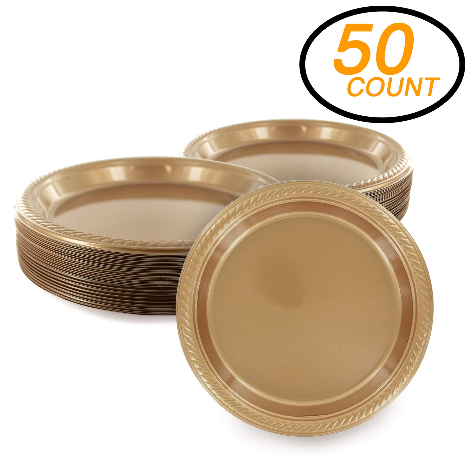 Amcrate Gold Disposable Party Plastic Dessert Plates 7'' - Ideal for Weddings, Party's, Birthdays, Dinners, Lunch's. (Pack of 50)