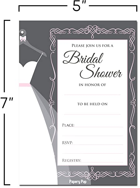 amazoncom 30 bridal shower invitations with envelopes 30 pack wedding shower invitations grey health personal care