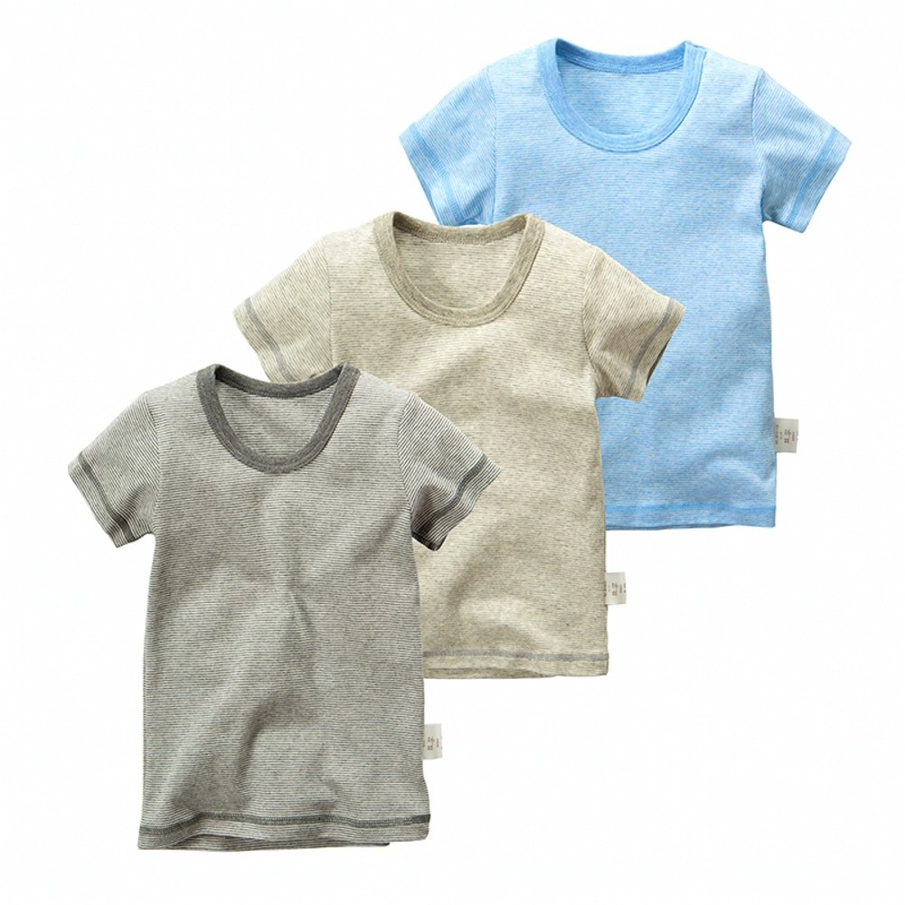 VeaRin Baby Boys' Toddler 3-Pack Cotton Short Sleeve T-Shirts Top Tees