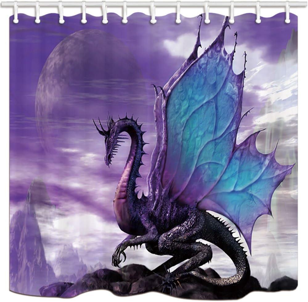 "NYMB Medieval Fantasy Theme Purple Dragon Shower Curtain, Magic Animals Polyester Fabric Bath Curtain, Bathroom Showers Curtain Set with Hooks, Bathroom Accessories, (69"" WX70 H)"