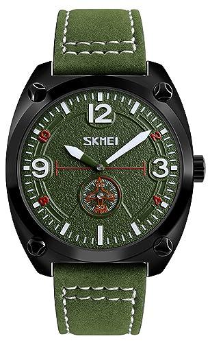 Piloto Militar analógico cuero reloj de cuarzo resistente al agua los hombres vestido reloj de pulsera Negro Acero inoxidable caso: Amazon.es: Relojes
