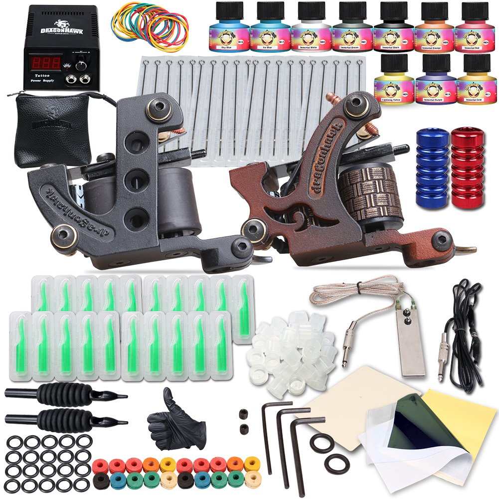 Dragonhawk Complete Tattoo Kit 2 Machine Gun 10 Color Inks Power Supply (Coils)