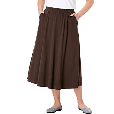 b5e2889d2 Woman Within Women's Plus Size 7-Day Knit A-Line Skirt at Amazon ...