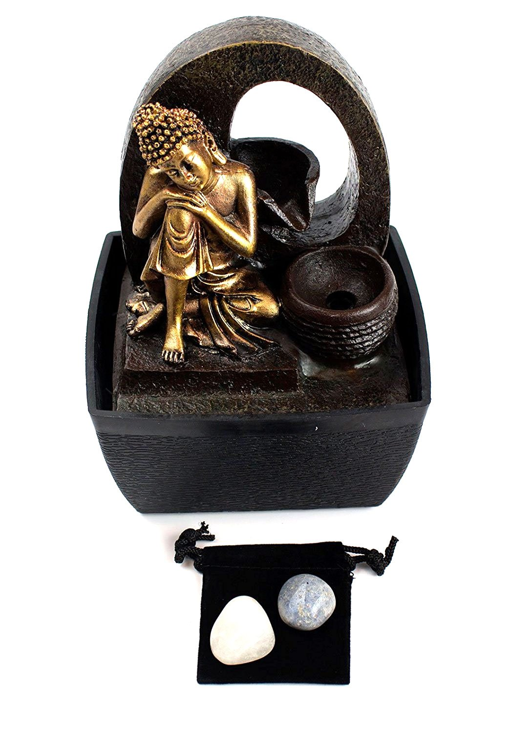 Thoughtful Siddhartha Buddha Tabletop Water Fountain with 2 Healing Stones and Pouch (4 Pc Bundle) 27366 by Imprints Plus