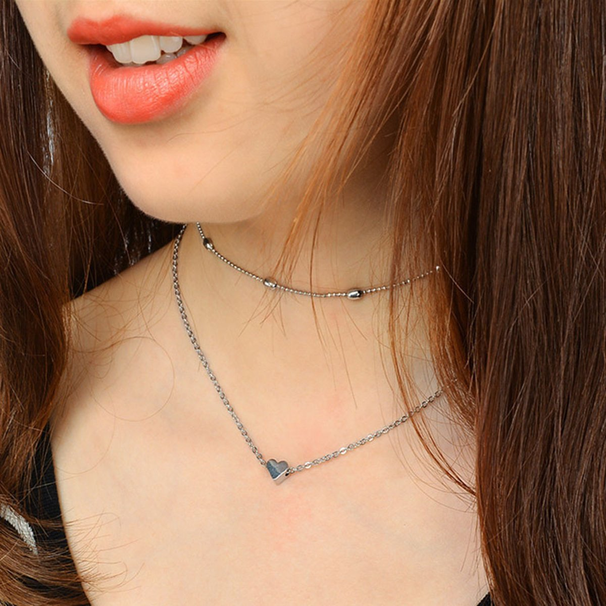 Anqifull Dainty Layered Gold Chocker Handmade Beads Fill Heart White Opal Necklace for Women Girls 012 by Anqifull (Image #7)