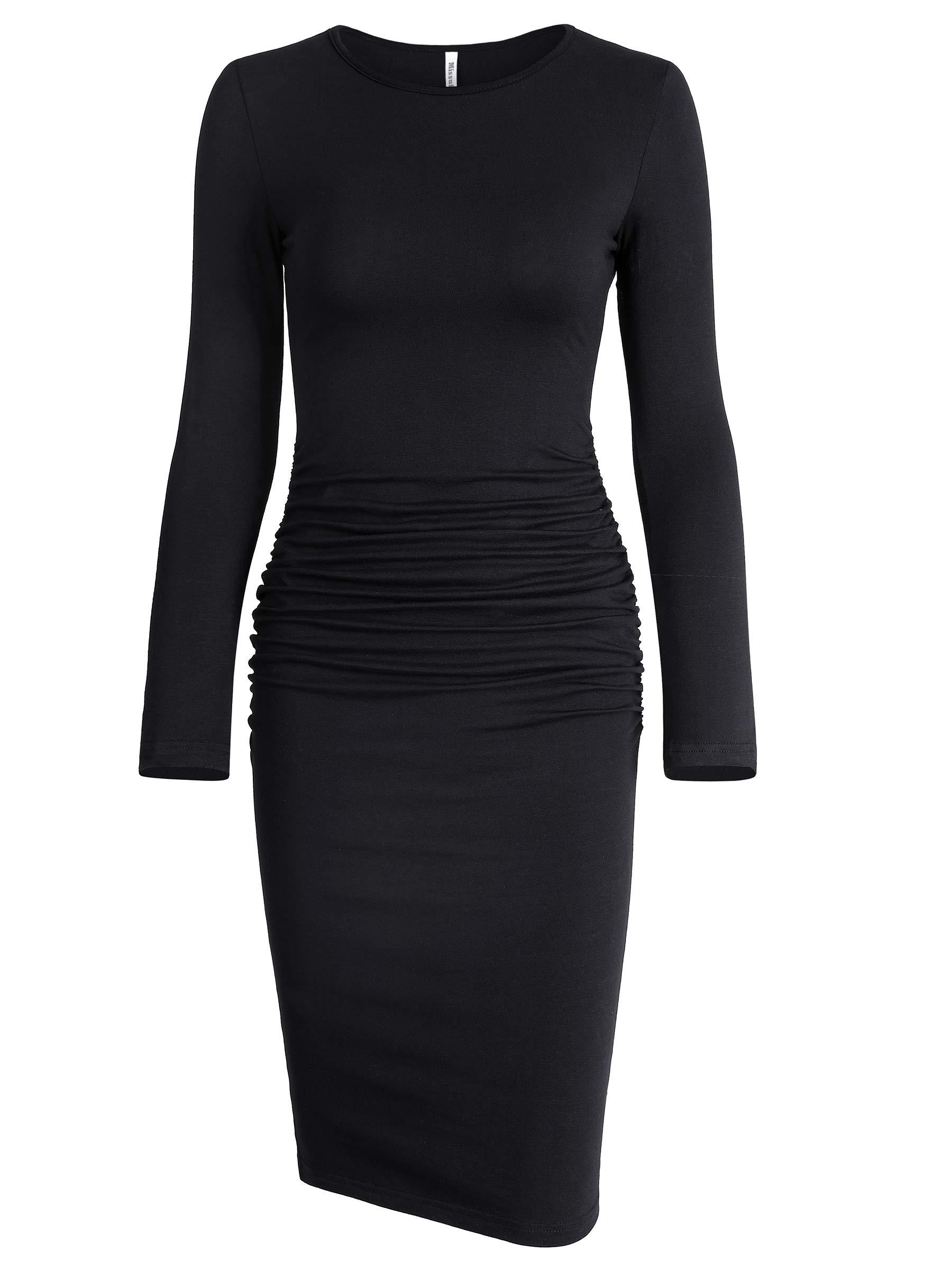 Missufe Women's Ruched Casual Sundress Midi Bodycon Sheath Dress (Medium, Long Sleeve Black)