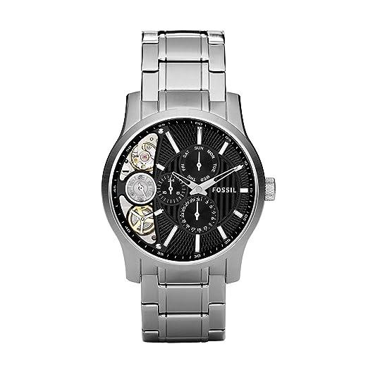 Fossil ME1097 - Reloj analógico manual para hombre con correa de acero inoxidable, color plateado: Fossil: Amazon.es: Relojes