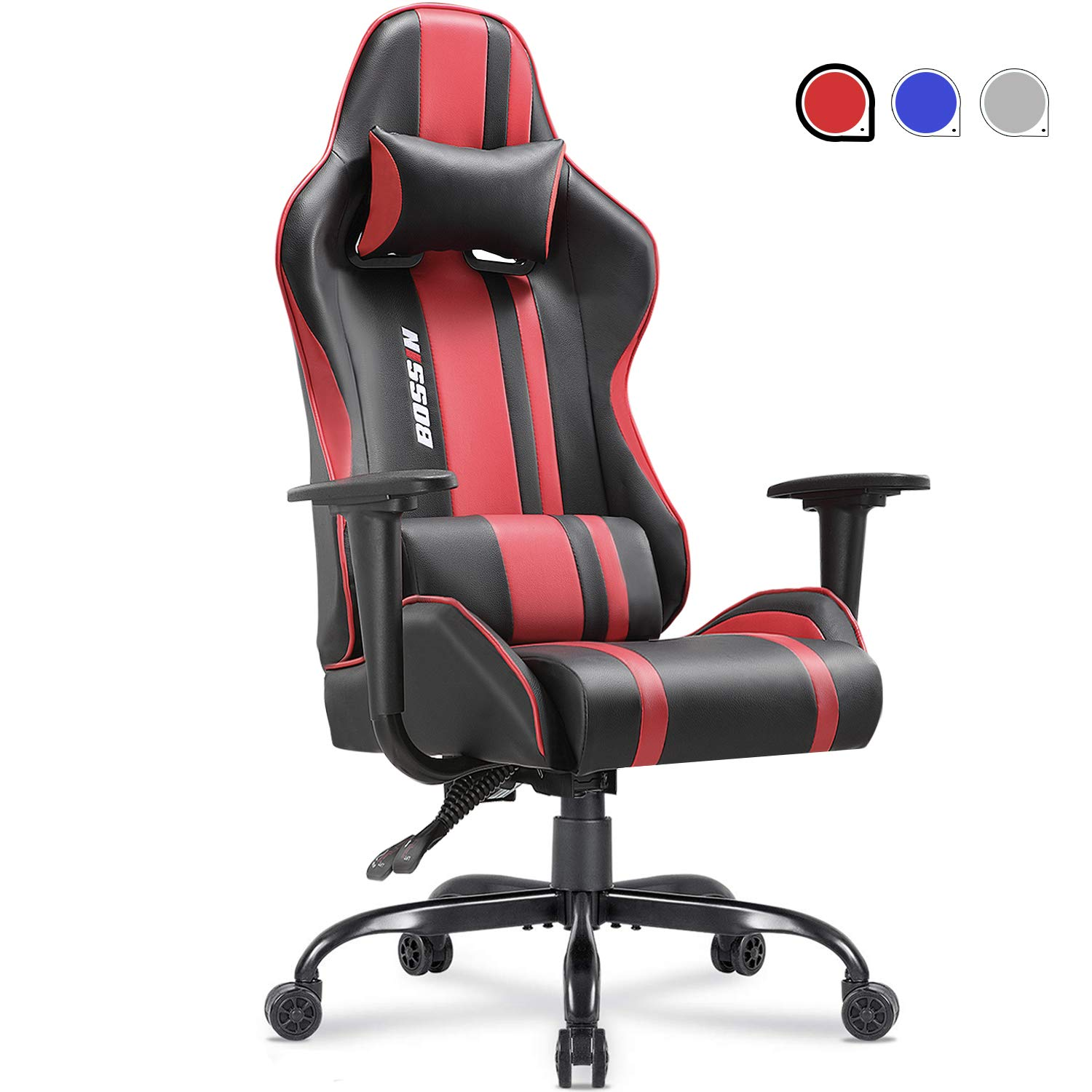 Gaming Chair Racing Style Office Chair Adjustable Height Chair Ergonomics High-Back Chair PU Leather Gaming Chair Swivel PC Computer Chair with Headrest and Lumbar Support(Red) by Lemberi