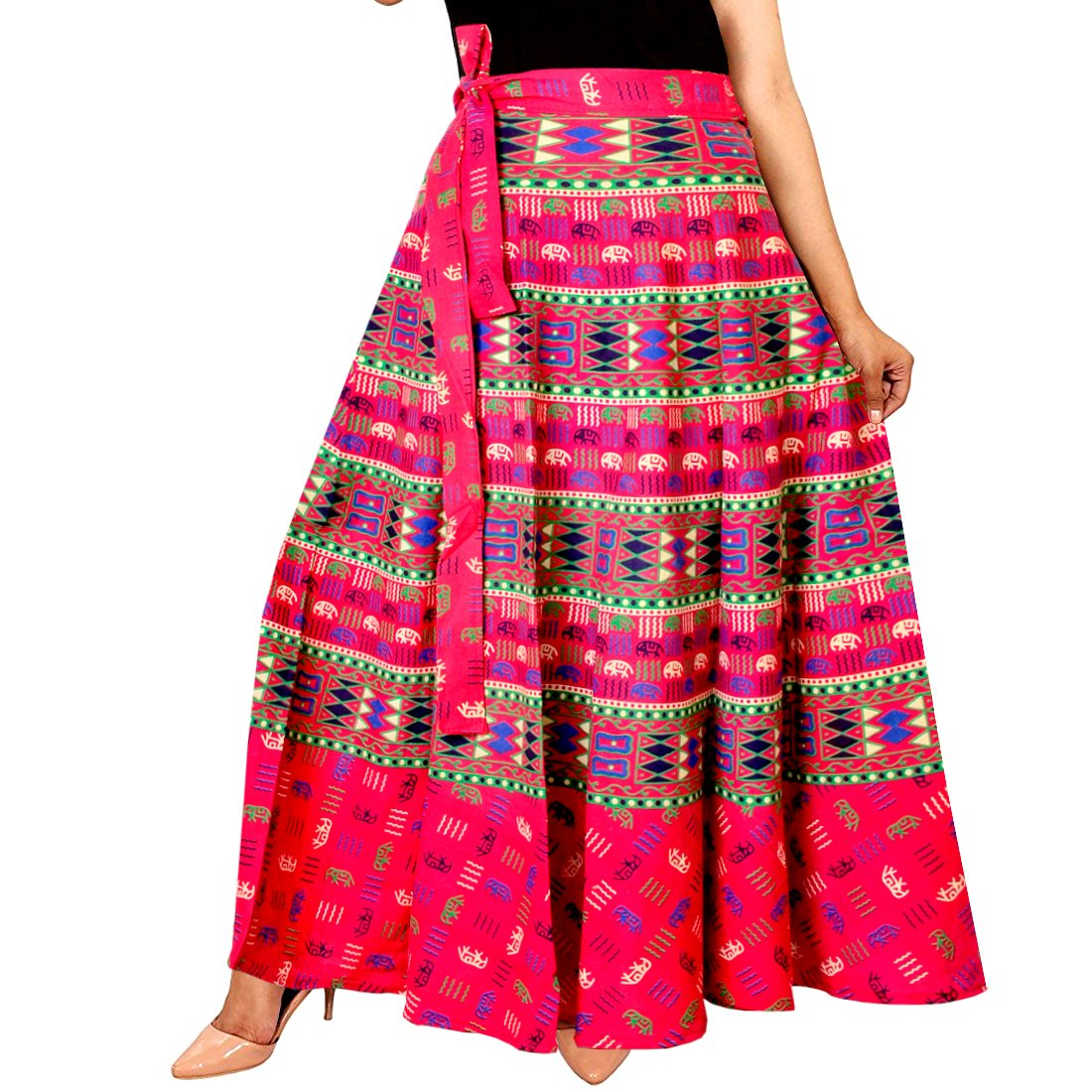 Mudrika Women's Cotton Jaipuri Rajasthani Full Long Skirt (SK_5333, Free Size, Multicolour)