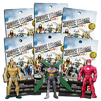 DC Comics Justice League Blind Bags Party Favors Pack - 6 Justice League Mystery Surprise Packs with Mini Figures Toys (Party Supplies)